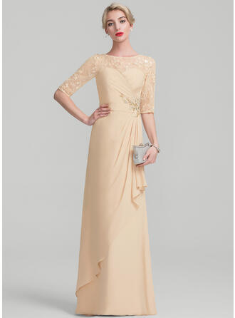 A-Line/Princess Scoop Neck Floor-Length Chiffon Lace Sequined Mother of the Bride Dress With Beading Sequins Cascading Ruffles