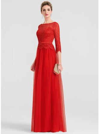 A-Line/Princess Scoop Neck Floor-Length Tulle Evening Dress With Beading