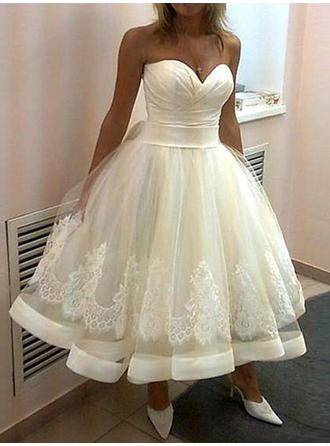 Sweetheart Ball-Gown Wedding Dresses Tulle Lace Sleeveless Tea-Length