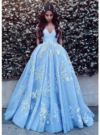 Ball-Gown Tulle Prom Dresses Appliques Lace Off-the-Shoulder Sleeveless Sweep Train