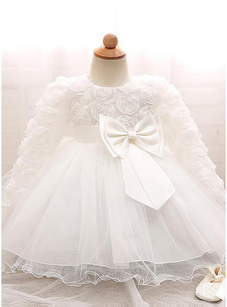 Tulle Scoop Neck Bow(s) Baby Girl's Christening Gowns With Long Sleeves