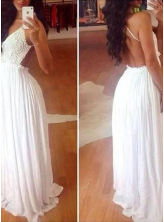 A-Line/Princess Halter Floor-Length Prom Dresses With Lace