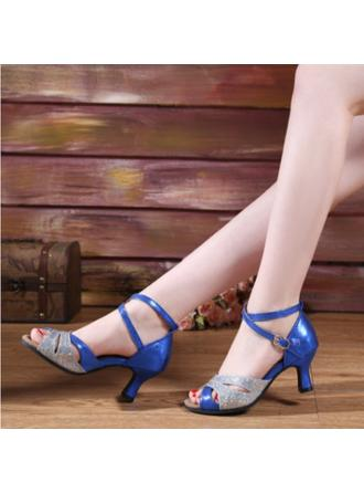 Women's Latin Heels Leatherette Sparkling Glitter With Buckle Dance Shoes