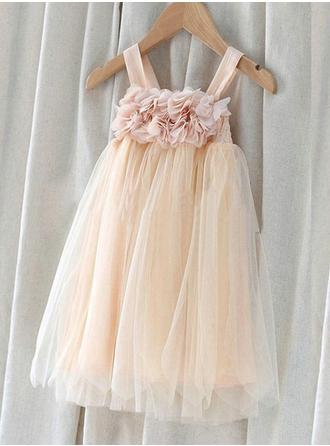 Empire/A-Line/Princess Square Neckline Knee-length With Flower(s) Chiffon/Tulle Flower Girl Dress