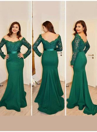 Trumpet/Mermaid Jersey Prom Dresses Modern Sweep Train Off-the-Shoulder Long Sleeves