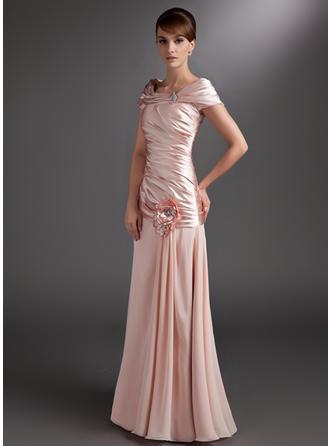 Luxurious シフォン Charmeuse オフショルダー Aライン/プリンセスライン2 ミセスドレス (008006118)