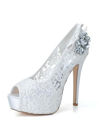 Women's Peep Toe Platform Pumps Sandals Stiletto Heel Lace With Rhinestone Wedding Shoes