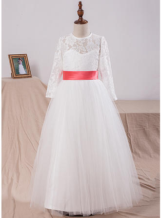 A-Line/Princess Scoop Neck Floor-length With Lace Lace Flower Girl Dresses
