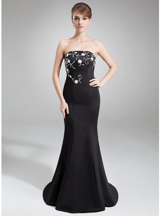Trumpet/Mermaid Strapless Satin Sleeveless Court Train Embroidered Beading Sequins Evening Dresses