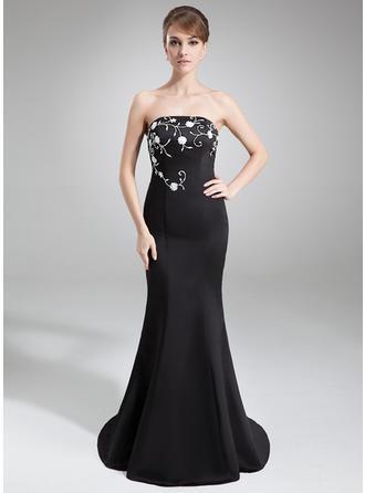 Flattering Satin Evening Dresses Trumpet/Mermaid Court Train Strapless Sleeveless