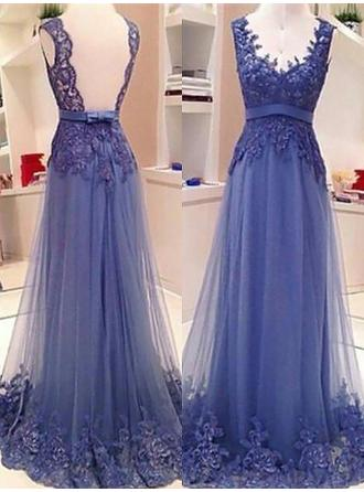 Tulle Sleeveless A-Line/Princess Prom Dresses V-neck Lace Sash Bow(s) Floor-Length (018210311)