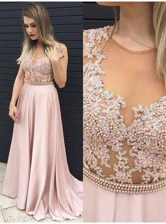 Satin Sleeveless A-Line/Princess Prom Dresses Scoop Neck Beading Appliques Lace Sweep Train