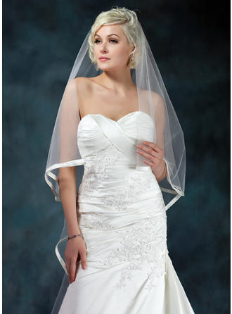 Cathedral Bridal Veils Tulle One-tier Drop Veil/Cascade With Ribbon Edge Wedding Veils