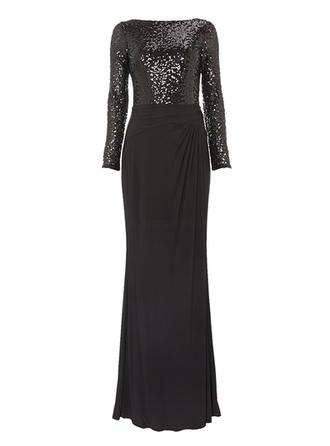 Sheath/Column Scoop Neck Floor-Length Chiffon Sequined Mother of the Bride Dress With Ruffle