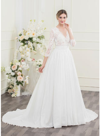 Fashion Taffeta Lace Wedding Dresses With Ball-Gown Ruffle