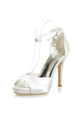 Frauen Peep-Toe Plateauschuh Sandalen Stöckel Absatz Satin mit Schnalle Nachahmungen von Perlen Brautschuhe