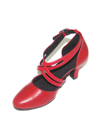 Women's Ballroom Swing Pumps Real Leather With Ankle Strap Dance Shoes
