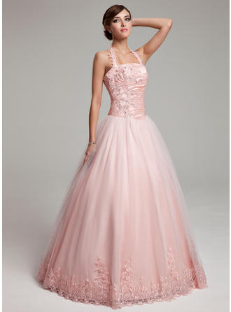 Ball-Gown Tulle Delicate Floor-Length Halter Sleeveless