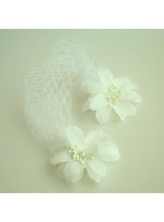 Ladies Beautiful Net Yarn/Silk Flower Forehead Jewelry