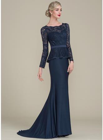 Trompete/Meerjungfrau-Linie U-Ausschnitt Sweep/Pinsel zug Spitze Jersey Kleid für die Brautmutter (008102683)