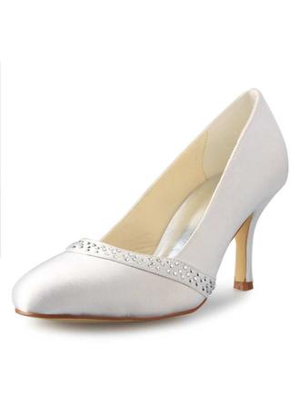 Women's Closed Toe Pumps Stiletto Heel Satin With Rhinestone  ...
