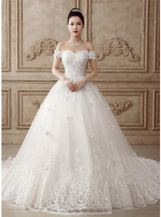 Ball-Gown Off-The-Shoulder Floor-Length Chapel Train Wedding Dress With Appliques Lace Flower(s) Bow(s)