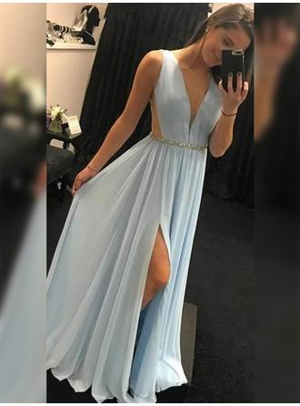 Fashion Chiffon Prom Dresses A-Line/Princess Floor-Length V-neck Sleeveless