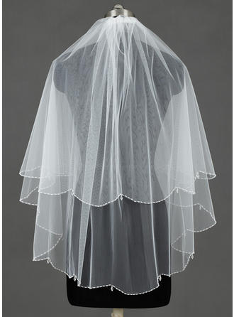 Fingertip Bridal Veils Tulle Two-tier Cascade With Beaded Edge Wedding Veils
