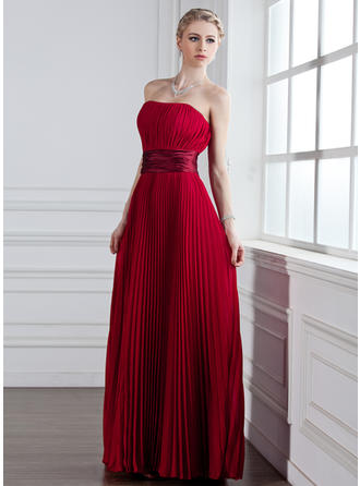 Chiffon Sleeveless A-Line/Princess Bridesmaid Dresses Sweetheart Pleated Floor-Length