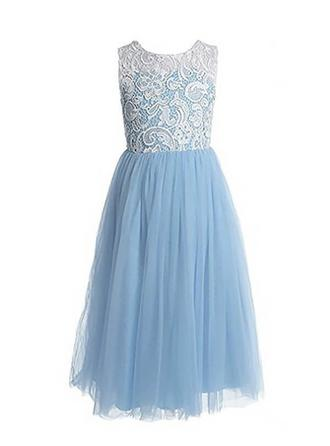 Scoop Neck A-Line/Princess Flower Girl Dresses Pleated Sleeveless Floor-length