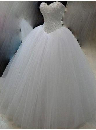 Elegant Floor-Length Ball-Gown Wedding Dresses Sweetheart Tulle Sleeveless