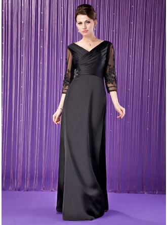 A-Line/Princess Satin Chiffon 3/4 Sleeves V-neck Floor-Length Zipper Up Mother of the Bride Dresses