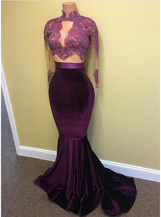 Charmeuse Long Sleeves Trumpet/Mermaid Prom Dresses High Neck Lace Beading Sequins Sweep Train