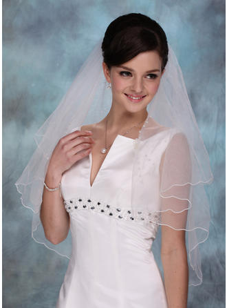 Elbow Bridal Veils Tulle One-tier Cascade With Scalloped Edge Wedding Veils