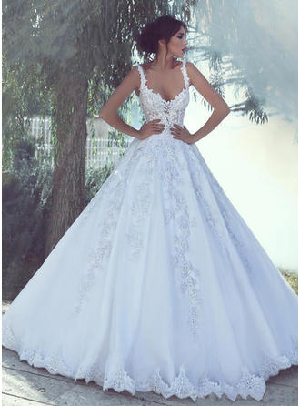 V-neck Ball-Gown Wedding Dresses Tulle Appliques Lace Sleeveless Floor-Length (002217844)