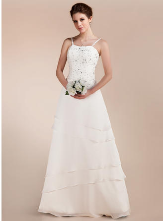 Floor-Length Sleeveless A-Line/Princess - Chiffon Satin Wedding Dresses