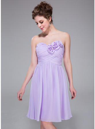 Chiffon Sleeveless A-Line/Princess Bridesmaid Dresses Sweetheart Ruffle Flower(s) Knee-Length