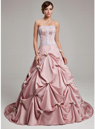 Ball-Gown Strapless Court Train Prom Dresses With Ruffle Lace Flower(s)