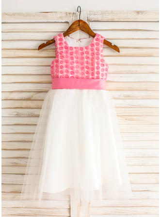 Luxurious Square Neckline A-Line/Princess Flower Girl Dresses Knee-length Tulle Sleeveless