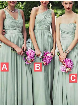 Chiffon Sleeveless A-Line/Princess Bridesmaid Dresses Sweetheart One-Shoulder V-neck Ruffle Floor-Length
