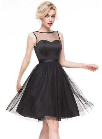 A-Line/Princess Cocktail Dresses Bow(s) Scoop Neck Sleeveless Knee-Length