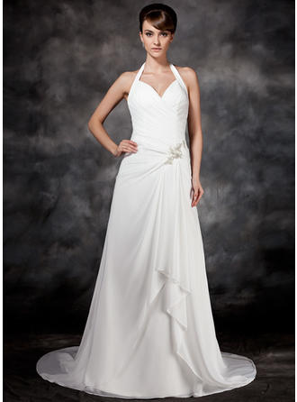 A-Line/Princess Halter Court Train Chiffon Wedding Dress With Beading Cascading Ruffles