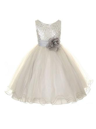 A-Line/Princess Scoop Neck Tea-length With Flower(s) Organza/Sequined Flower Girl Dresses