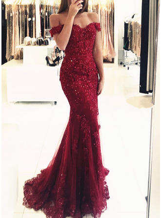 Trumpet/Mermaid Off-the-Shoulder Sweep Train Evening Dress With Beading Sequins (017146219)