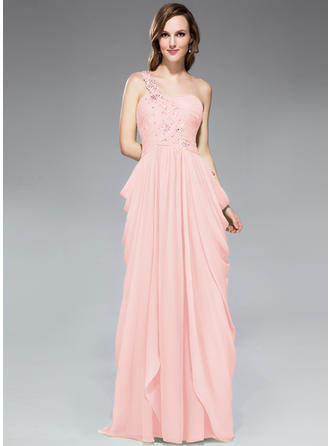 Chiffon Sleeveless Sheath/Column Prom Dresses One-Shoulder Ruffle Beading Appliques Lace Sequins Sweep Train