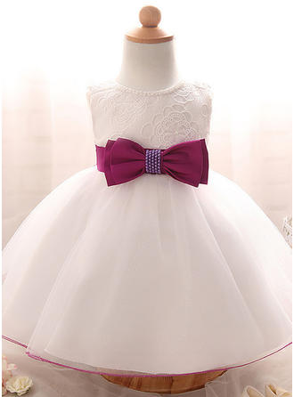 Tulle Scoop Neck Beading Baby Girl's Christening Gowns With Sleeveless