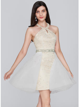 Sheath/Column Halter Short/Mini Tulle Lace Homecoming Dresses With Beading Sequins
