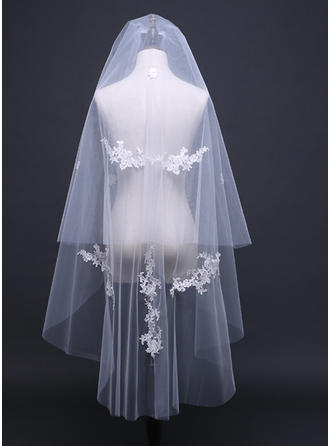 Two-tier Cut Edge Waltz Bridal Veils With Lace (006122640)