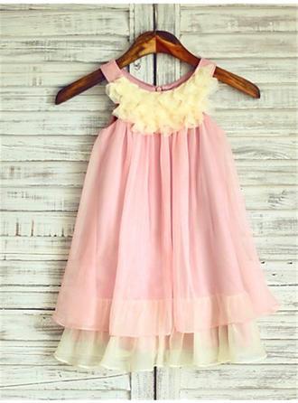 Sexy Knee-length A-Line/Princess Flower Girl Dresses Scoop Neck Chiffon Sleeveless