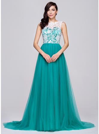 Tulle Lace Sleeveless A-Line/Princess Prom Dresses Scoop Neck Court Train